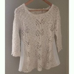 Anthro Knitted & Knotted Sylt Pointelle Sweater